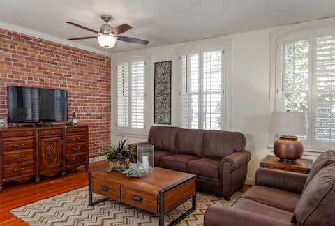 Spacious living room with plantation shutters