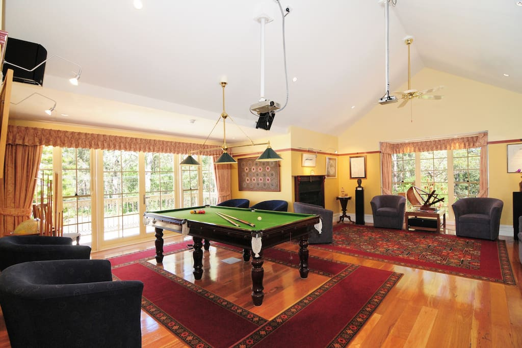 Games Room with Pool table and wide screen TV