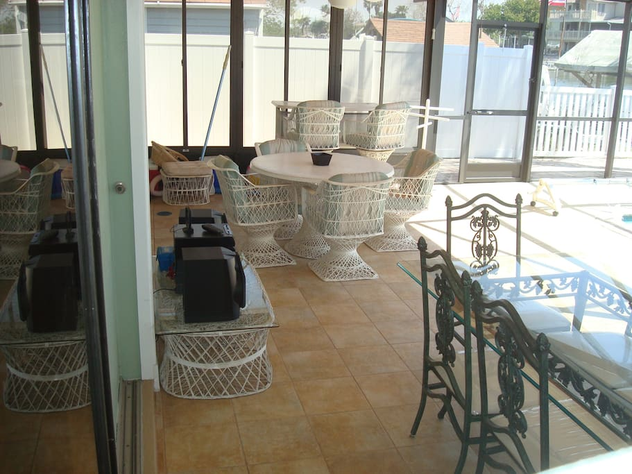Breakfast, Lunch or Dinner while sitting on the huge porch overlooking the pool and canal to the Gulf of Mexico!!!