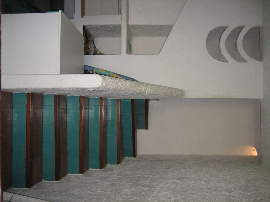 Steps to the sleeping area on the second flor