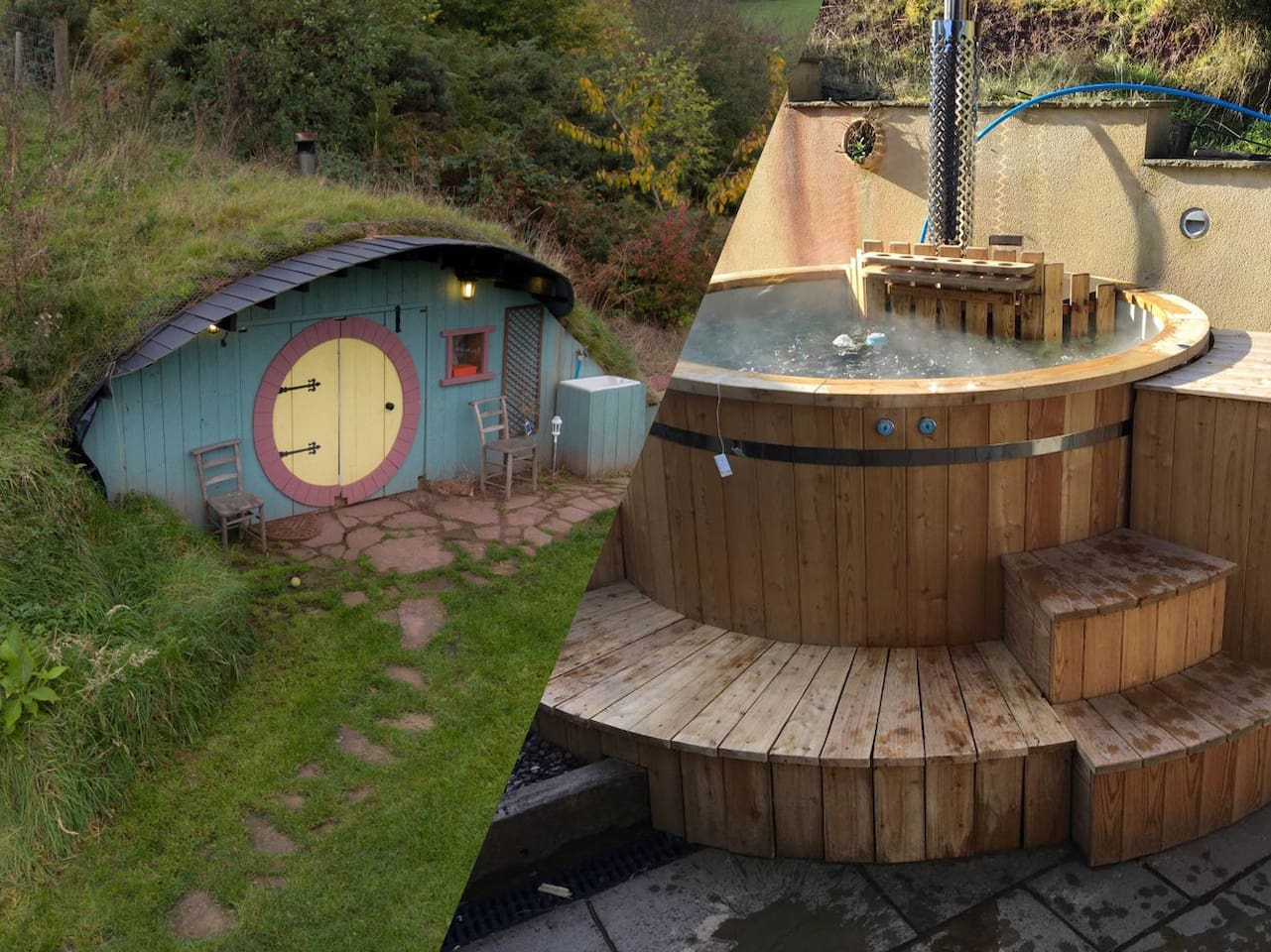 Book both the Hobbit house and the room with hot tub to get accommodation for 5.