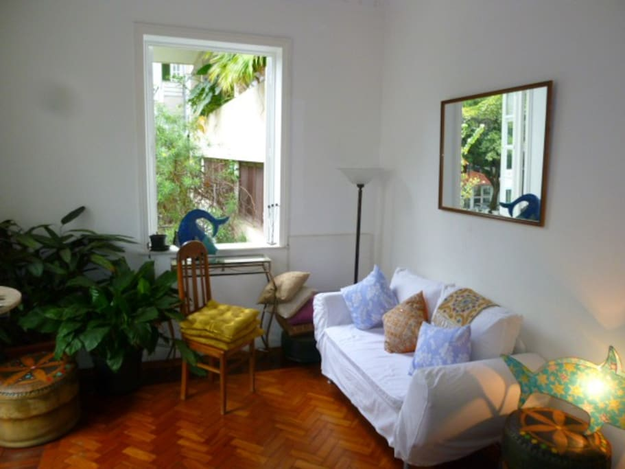 living room. The sofa is a sleeping sofa for 1 person.