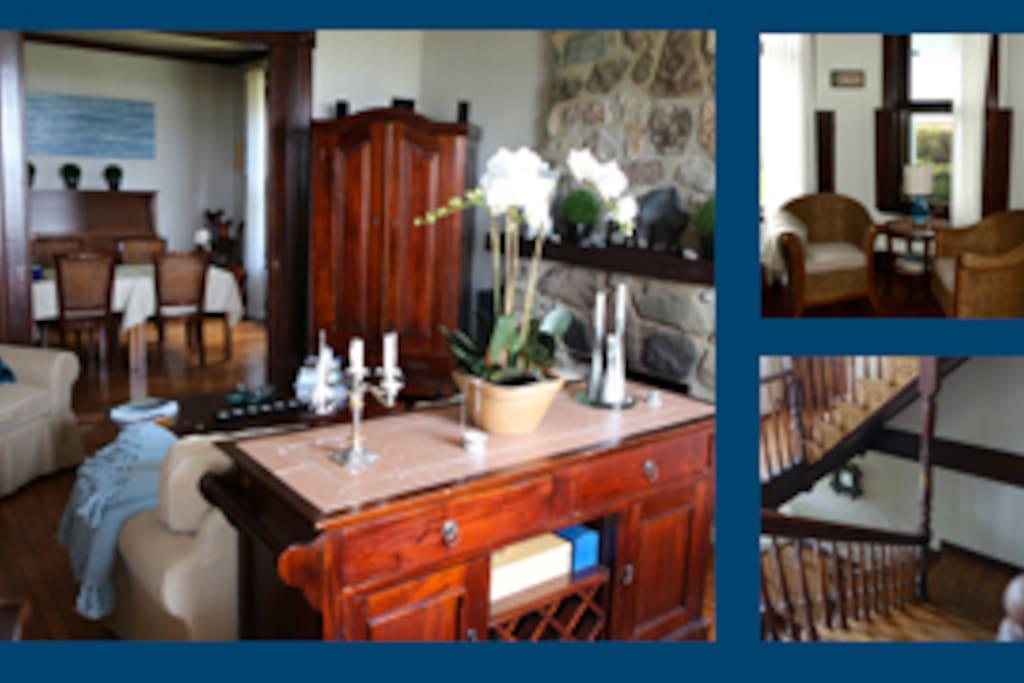 Salle-à-manger et salon avec foyer.