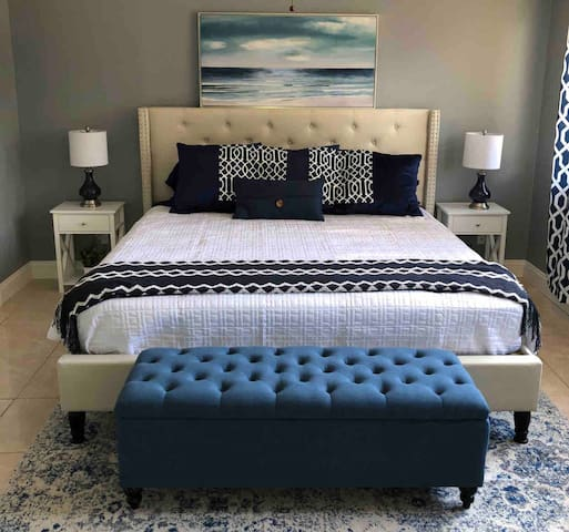 Large King sized bed awaits with luxury bamboo sheets and pillows. Private television with generous viewing options available. Come relax here in between your fun lake activities!