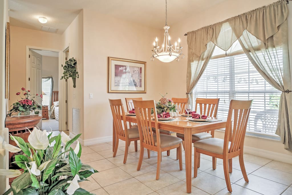 Spend time with loved ones in this beautiful dining area.