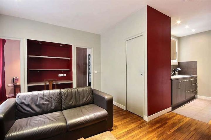 Living room: The 18 square meters living room has a double glazed window facing courtyard . It is equipped with : dining table for 3 people, double sofa bed, TV, phone, desk, armchair, built-in shelves, decorative fireplace, hard wood floor.