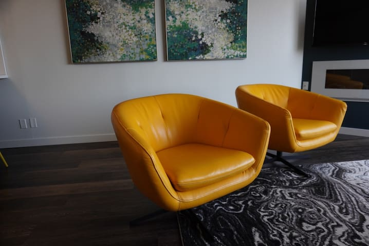 Beautiful designer leather chairs to relax in!