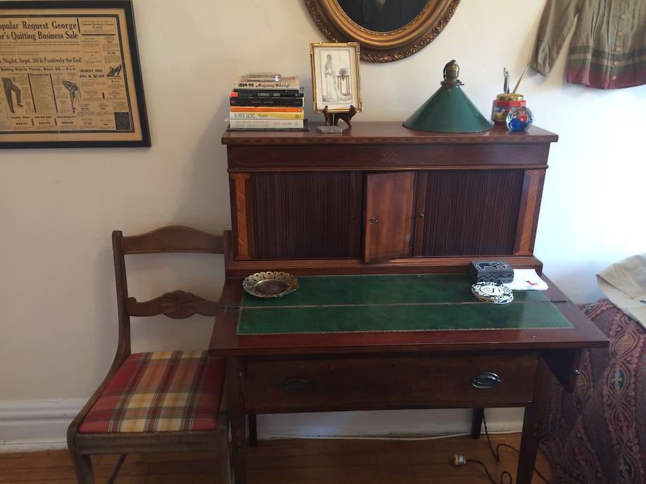 antique desk & chair in the bedroom