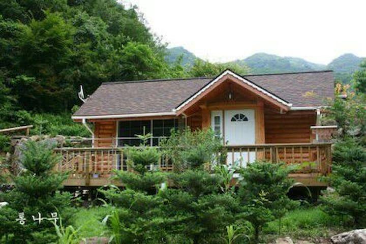 강원도 영월 김삿갓계곡에  가족들이 단독으로 이용하실수 있는 통나무로 지은 집 이예요~^^