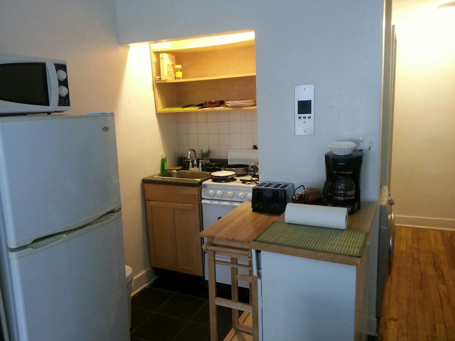 The kitchenette comes with refrigerator and stove, full set of dishes,microwave, coffee maker,pots,pans and utensils.