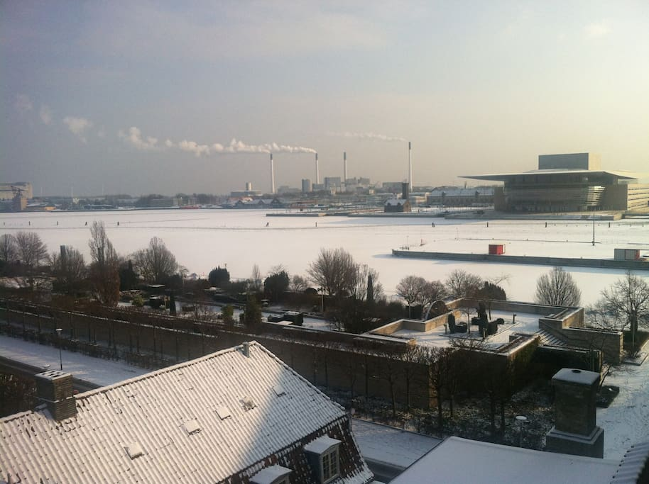 Winter morning in February. The harbor is frozen.