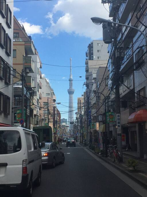 You can see Tokyo Skytree clearly right outside of the building
