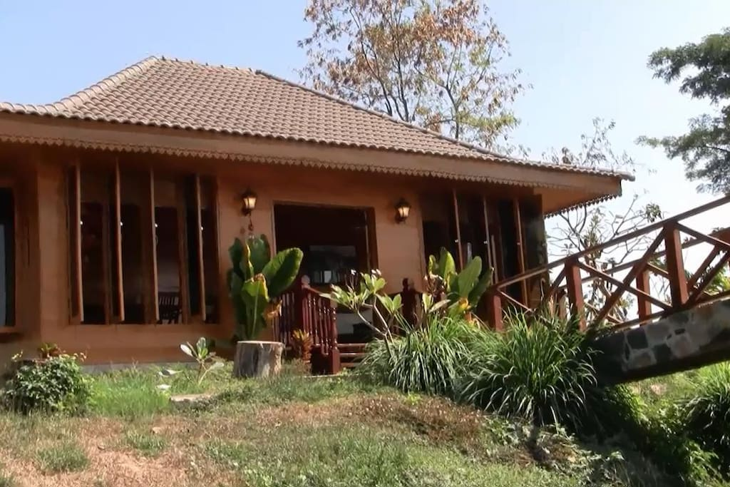 Front view of house that overlooks the Mekong River