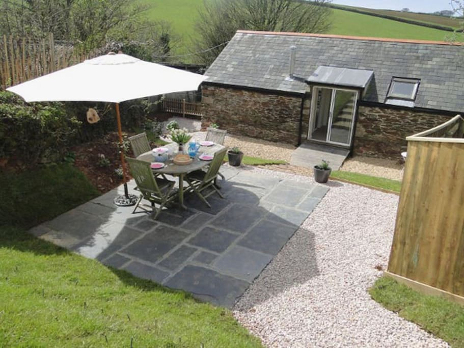 Private garden and terrace across to the fields