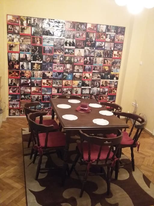 The dining room with old movie posters:)