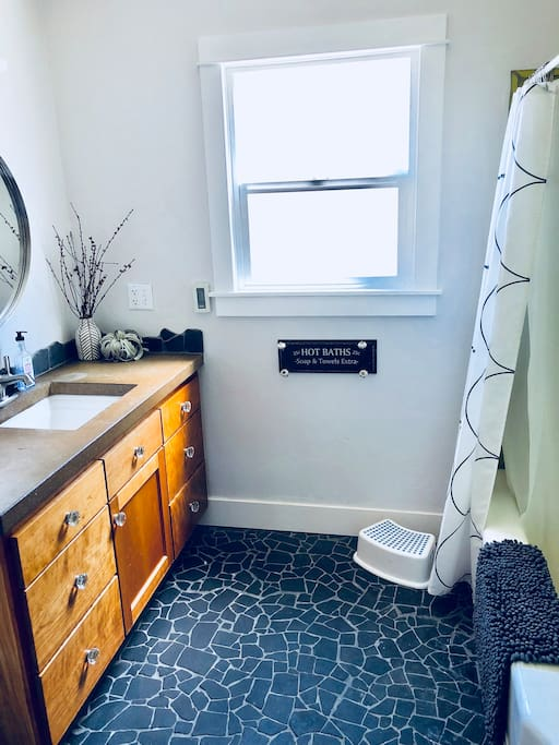Newly updated guest bathroom with shower & tub. Kid friendly toys for bathing.