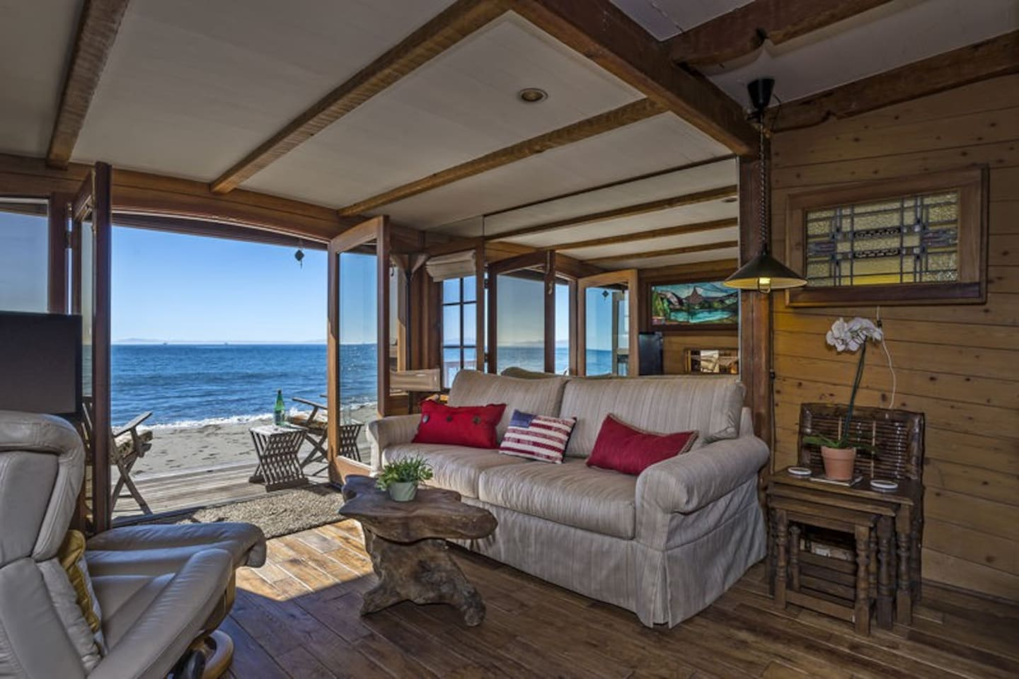 Living room with walkout access to beach!