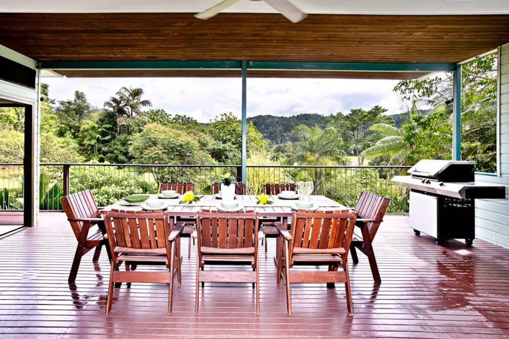 Large balcony, with BBQ overlooking garden and cattle farm