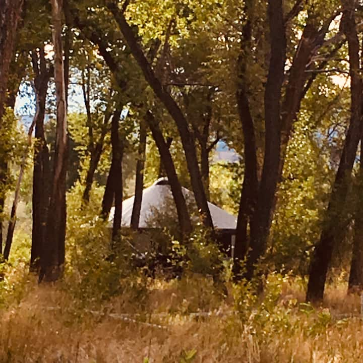 The Grove Yurt is on the river near Paonia, Colo.