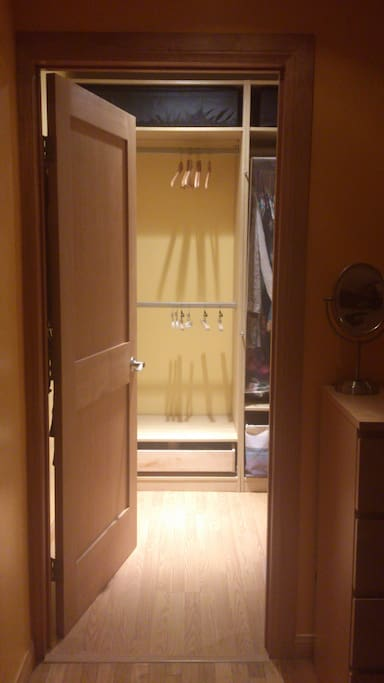 walk-in closet. some of my stuff will be in there, but plenty of space for yours :)