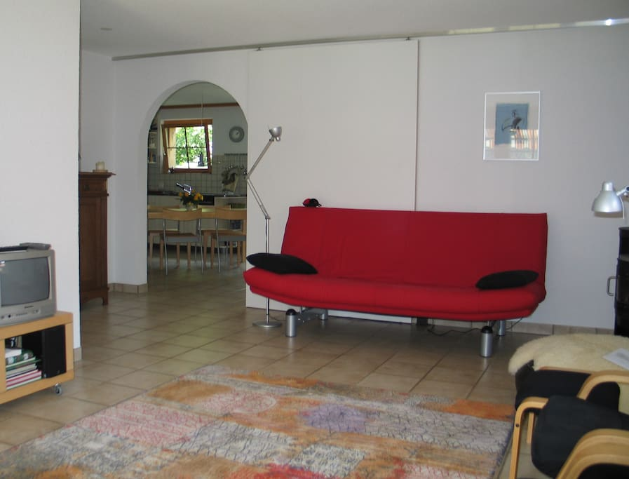 Libing room, with view into the kitchen and with bedsofa