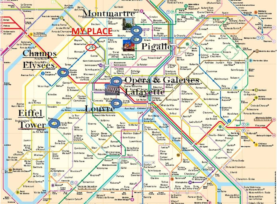 The flat - ideally located. Close to  the most attractive places in Paris