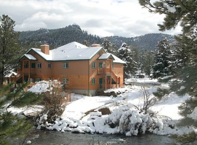 Winter scene of resort.