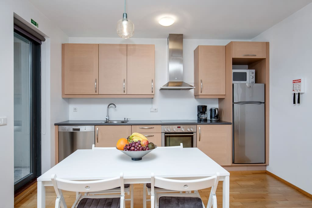 The kitchen is fully equipped and there is a small balcony.