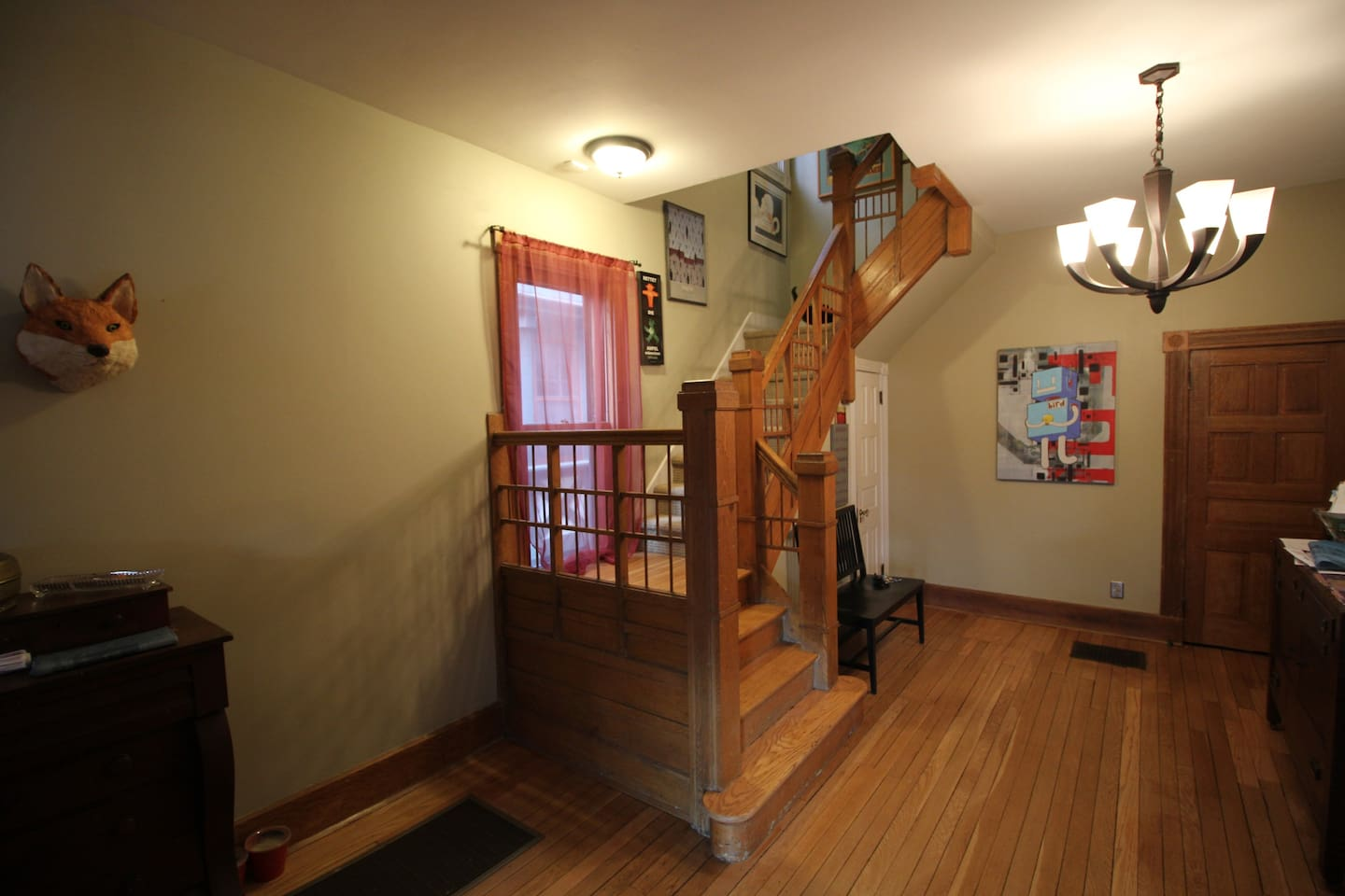 A dramatic foyer greets you as you come in the front door.