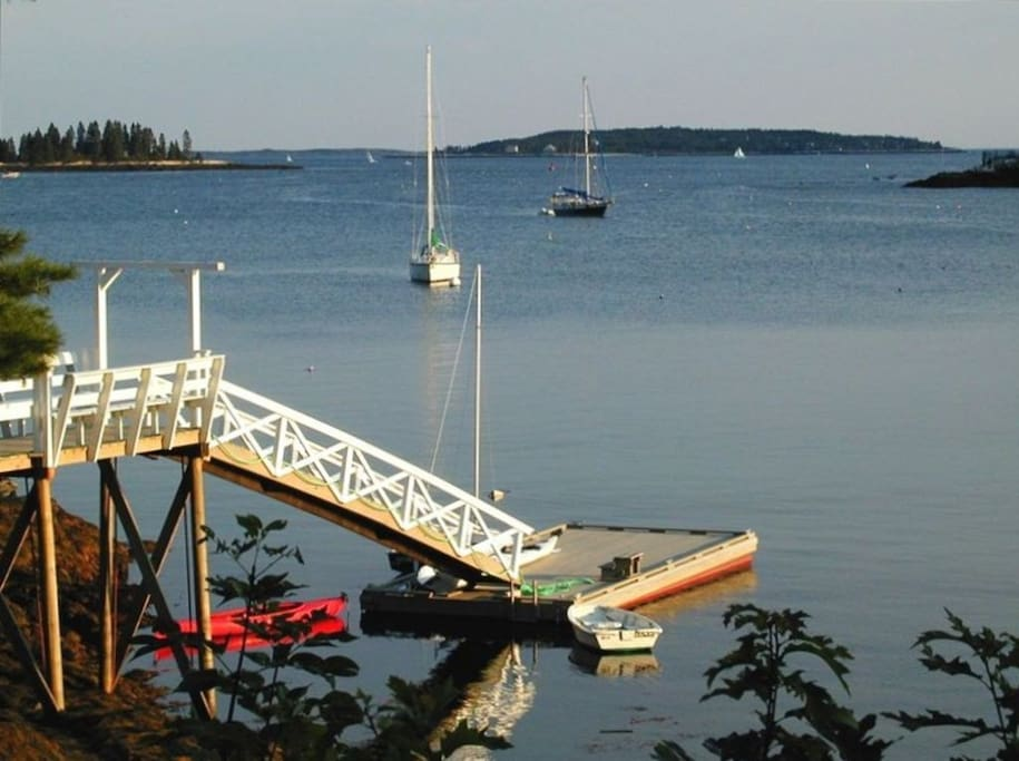 Deep water dock with kayaks available for use