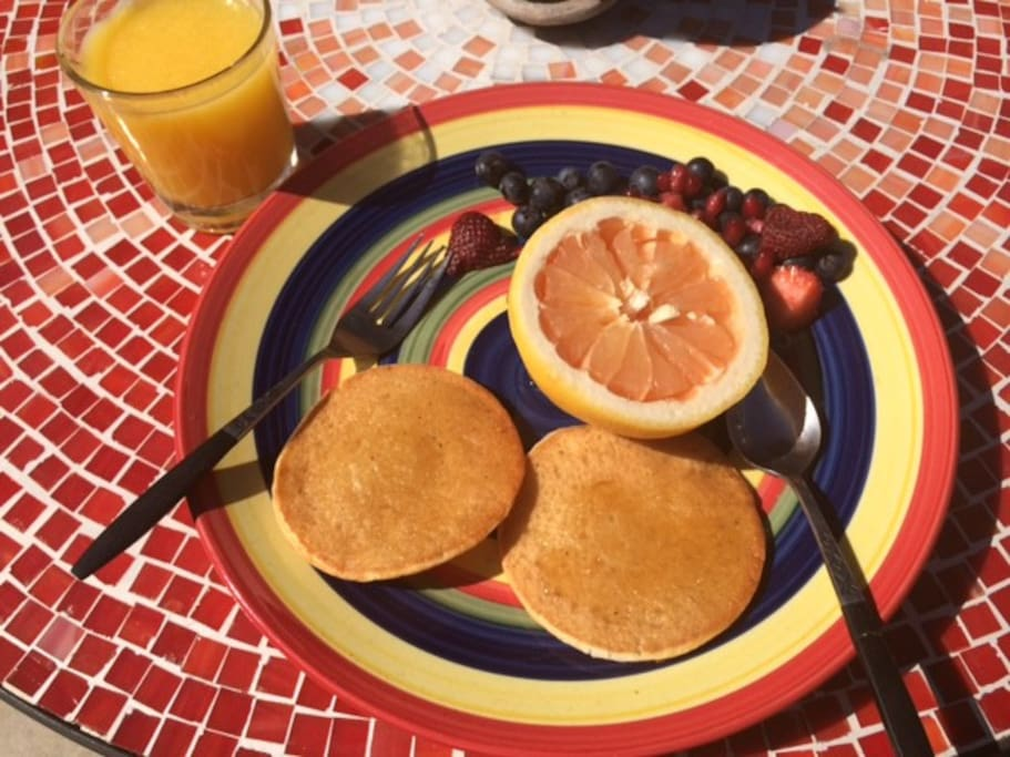 A typical breakfast for guests...somebody already ate one of the pancakes!