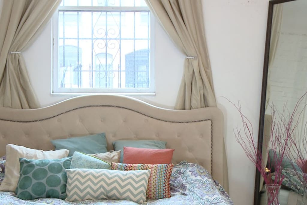 Super comfy memory foam King Sized Bed with clean linens.