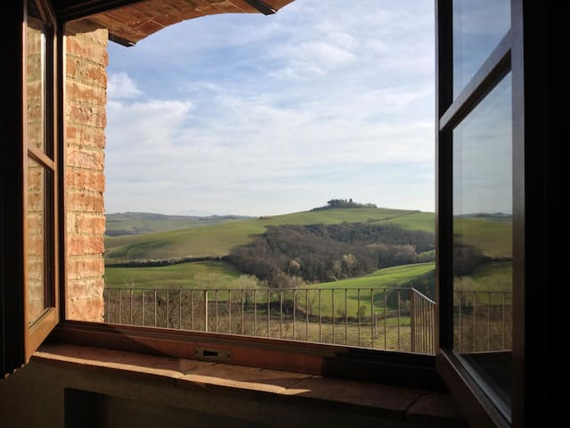 View of Crete Senesi landscape from the double room
