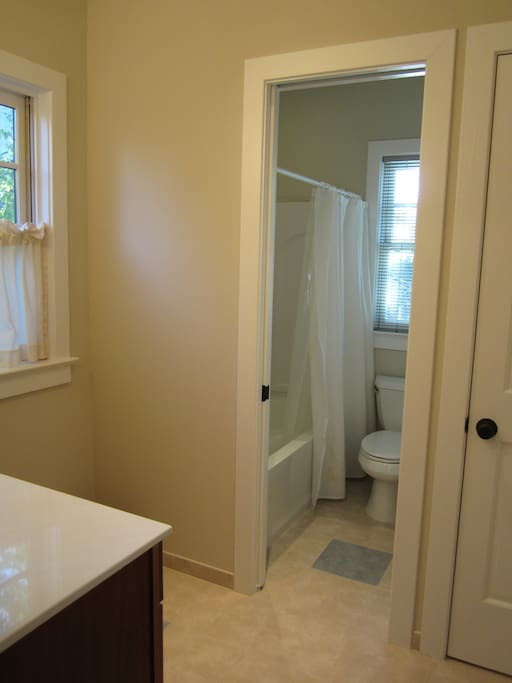 Full bath, shared with one other guestroom.
