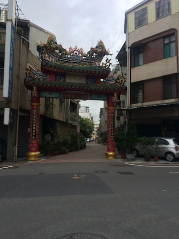 From the bus stop, you can see this temple gate.