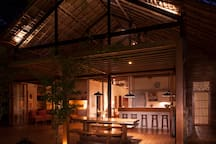 Dining and kitchen at night
