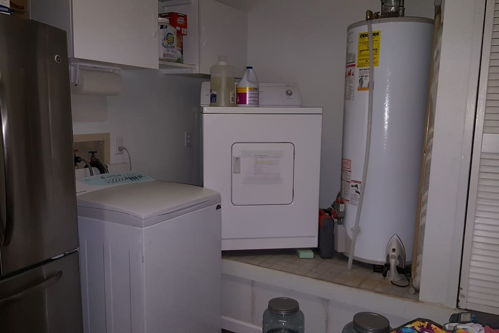 Laundry room available during off peak hours 7pm to 12 noon daily and all day weekends and holidays.  One free load per guest.  Laundry soap included :)
