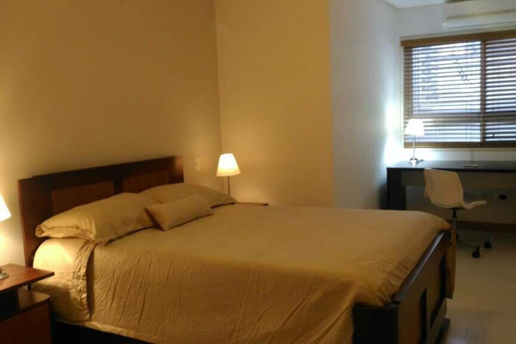 A/C room with double bed, desk, large closets and suite Bath room.