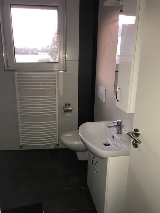 Badezimmer Toilette und Waschbecken