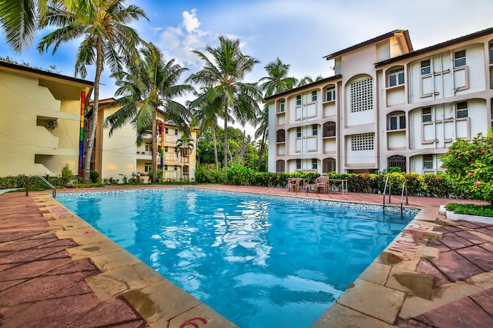 Charming 1 Bhk Apt~Pool~CandolimBeach500m