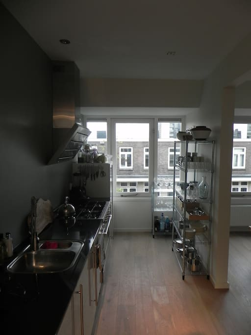 Fully equipped kitchen including large 5 burner hob, double sized oven, fridge & dish washer.  Use what you want.