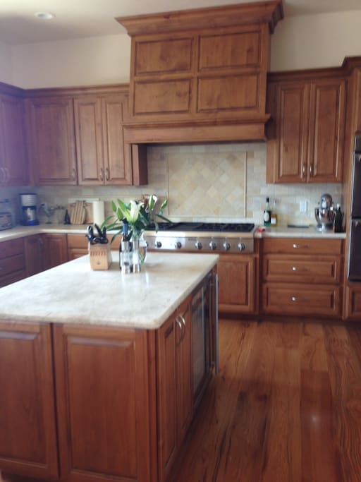 Gourmet kitchen, fully furnished with all appliances, pots and pans and dishes.