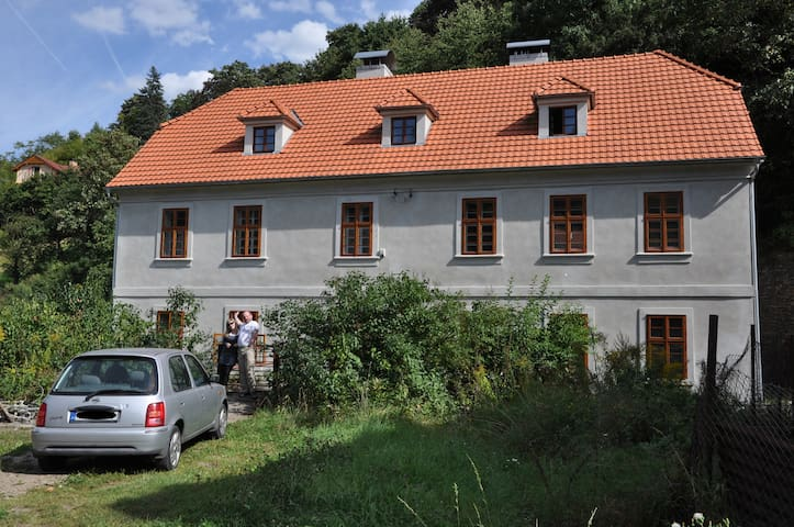Apt. overlooking the castle Nižbor20km from Prague - Nizbor - Huis