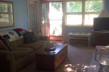 Living room with DirectTV television