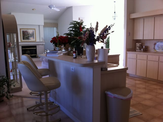Breakfast bar; lots of counter space; perfect for entertaining. (New swivel chairs; sorry no photos yet.)