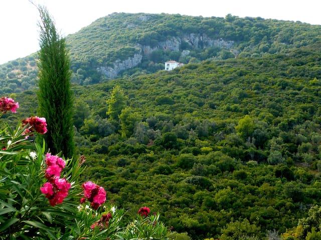 Blick auf das Haus von der Straße zum Kastri-Strand