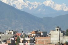 Rooftop  views   of Himalaya on clear day