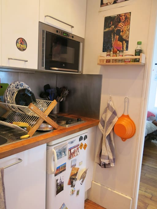 Kitchen area: two hotplates, microwave, fridge etc. Oven not pictured.