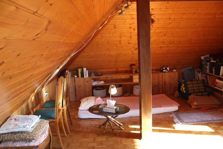 Belle salle boisée dans les combles de la maison