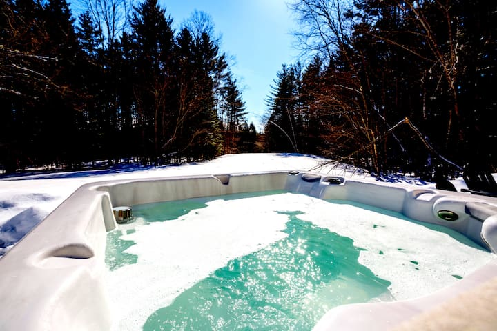 Hot Tub - with views of meadow and wood.